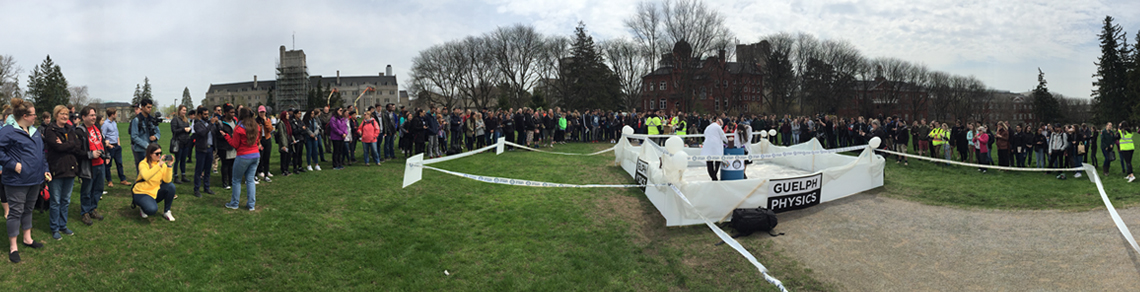 Crowd outside watching physics club world record attempt for biggest elephant toothpaste