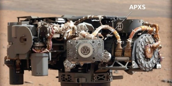 Picture of the APXS instrument on the robotic arm of Curiosity.