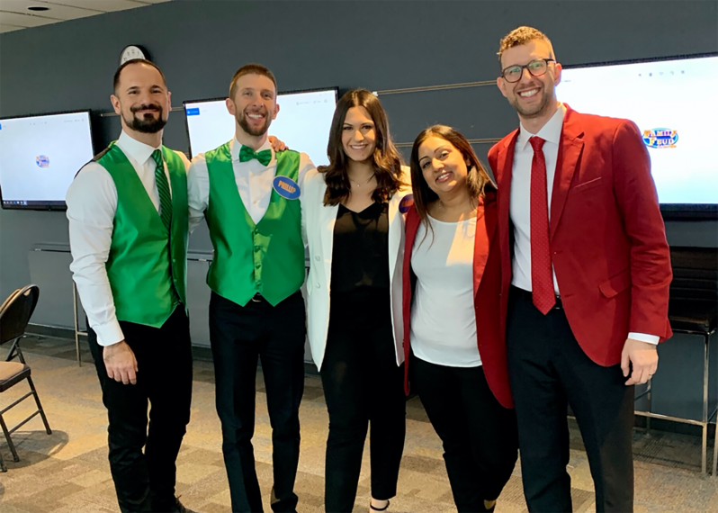 From left: Dario (Philip's boyfriend) is a refugee and University of Pennsylvania alumni; Philip (cousin) is a high school teacher; Melanie; Simran (Andrew's wife) is a lawyer; Andrew (cousin) is a criminal defence lawyer.