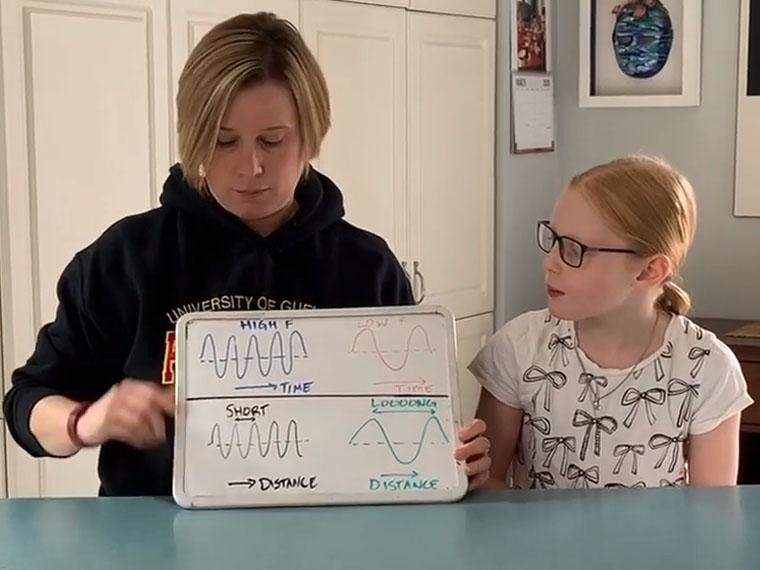 an adult and a child looking at a small white board that the adult is holding