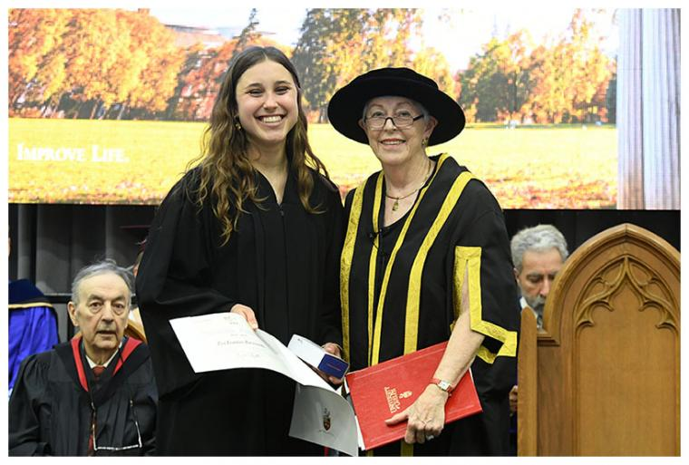 Lia Formenti (left) receiving Governor General's Silver Medal at 2019 Convocation