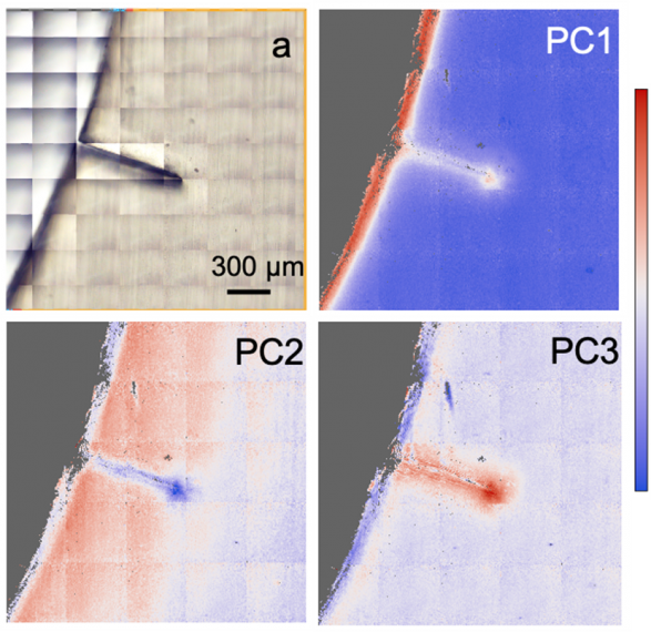 Images of a small crack on an inner surface of a polyethylene pipe collected at the IR spectromicroscopy facility at the Canadian Light Source