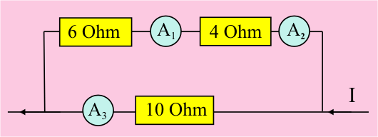 Diagram of circuit with three resistors