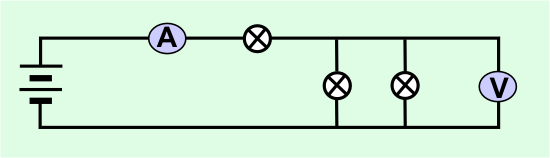 diagram of a circuit with two lights in parallel and one in series