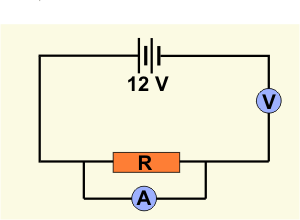 Diagram of circuit with a voltmeter and resistor