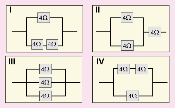 Diagram with four images of different circuits in various configurations
