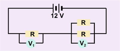 diagram of circuit with 3 resistors and 2 voltmeters.