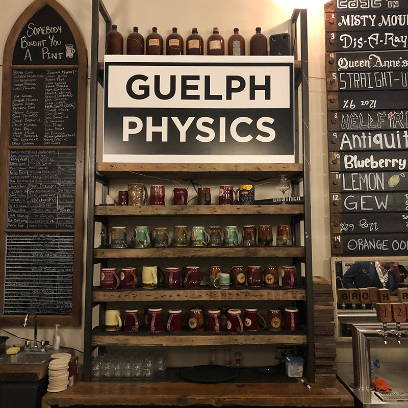 Guelph Physics sign at Brothers Brewing