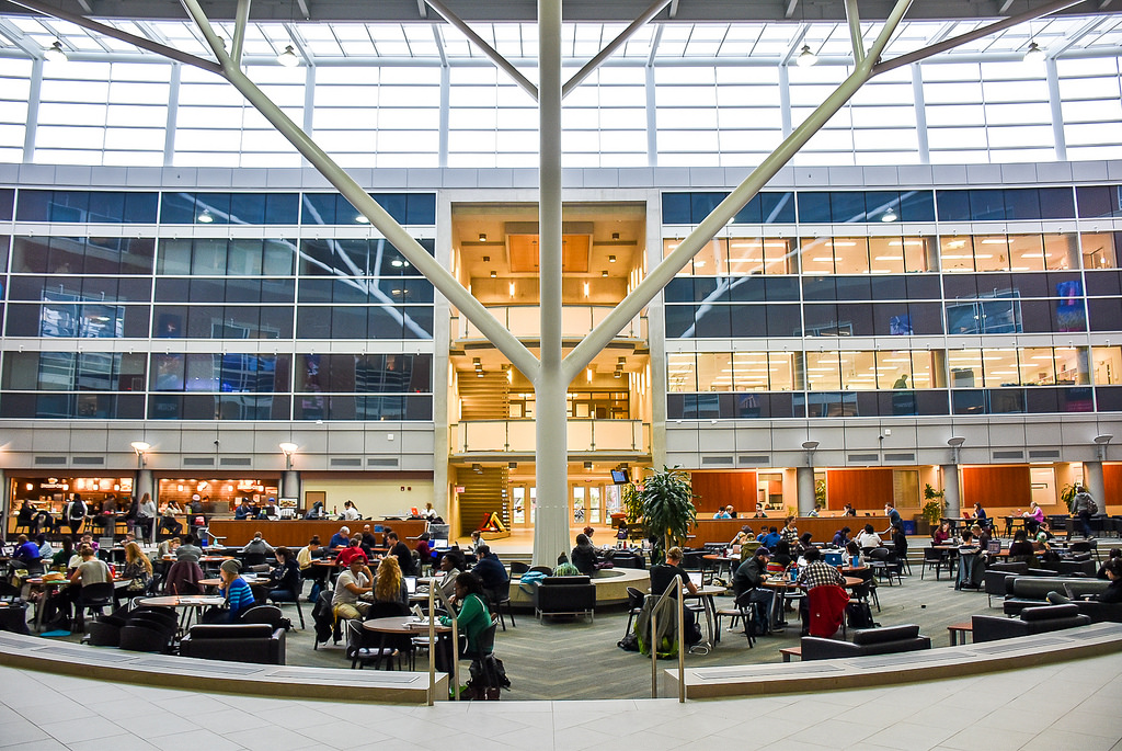 Summerlee Science Complex Atrium with students working at tables