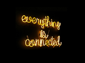 Everything is connected written in lights