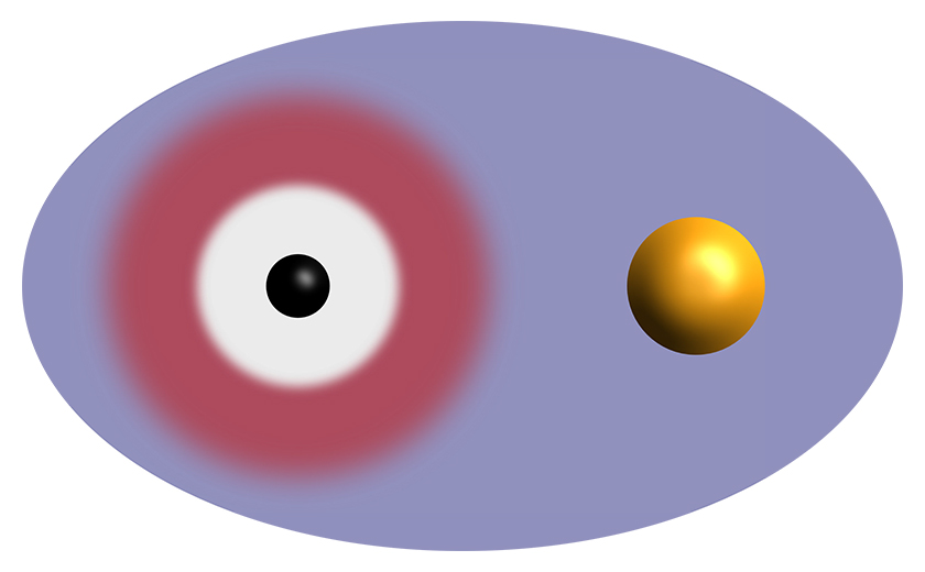 Binary system involving a black hole (black) and a compact star (yellow). The compact star exerts tidal forces on the black hole, and vice versa.