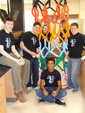 The nanoscience students showed off their many diverse talents by creating a carbon nanotube from balloons.